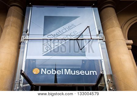 STOCKHOLM, SWEDEN - JULY 2012: Famous Nobel museum in Stockholm city, Sweden. Museum devoted to circulate information on the Nobel Prize, Nobel laureates from 1901 to present