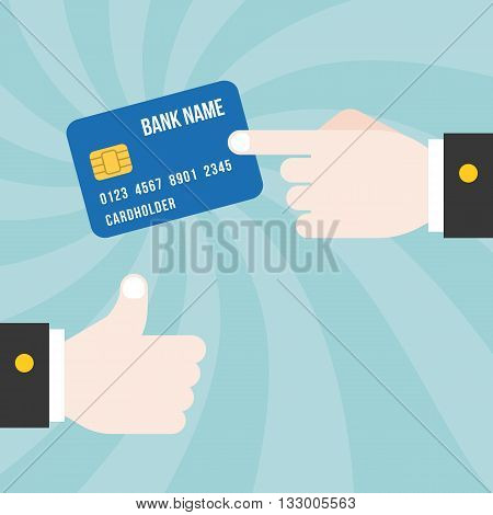 finger point at credit card with thumb up on spiral background, design for credit card commercial and advertise, credit card concept for business and banking illustration, flat design