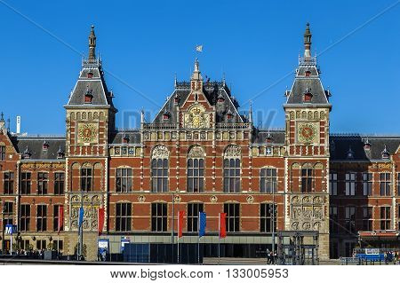 Station Amsterdam Centraal is the largest railway station of Amsterdam Netherlands