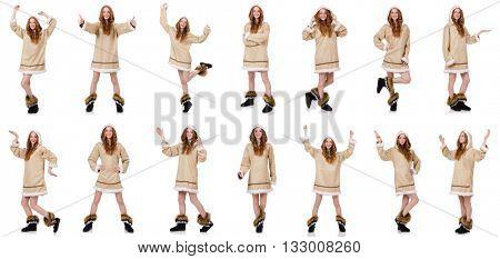 Eskimo girl  isolated on white