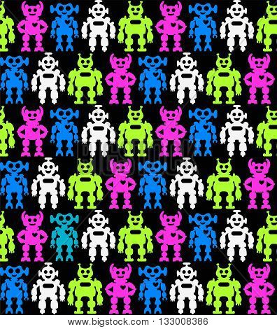 Funny robots on a seamless black background