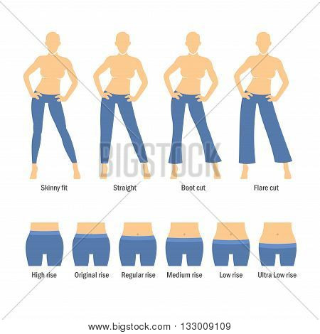 Women Jeans Types Set on White Background. Vector