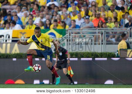PASADENA, CA - JUNE 4: Luis Valencia during the COPA America game between Brazil & Ecuador on June 4th 2016 at the Rose Bowl in Pasadena, Ca.