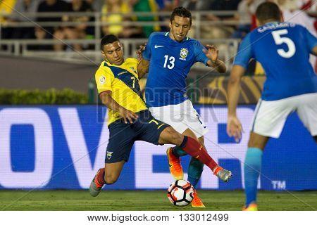 PASADENA, CA - JUNE 4: Jefferson Montero (L) & Marquinhos during the COPA America game between Brazil & Ecuador on June 4th 2016 at the Rose Bowl in Pasadena, Ca.