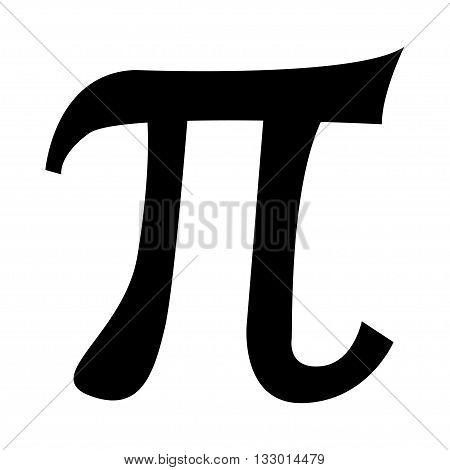 Vector black pi symbol icon on white background