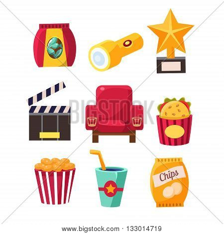 Movie Theatre Related Objects Collection. Isolated Cinema Themed Items Drawings. Collection Of Vector Stickers Related To Movie Theatre.