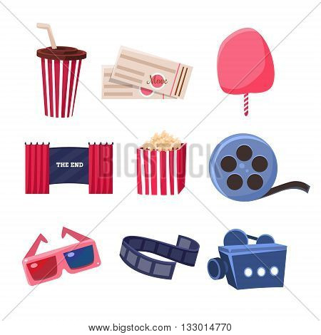 Movie Theatre Related Objects Set. Isolated Cinema Themed Items Drawings. Collection Of Vector Stickers Related To Movie Theatre.