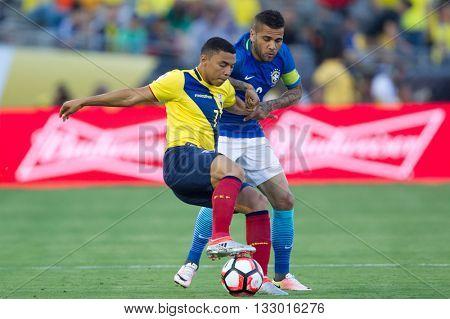 PASADENA, CA - JUNE 4: Dani Alves (R) & Jefferson Montero during the COPA America game between Brazil & Ecuador on June 4th 2016 at the Rose Bowl in Pasadena, Ca.
