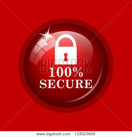100 percent secure icon. Internet button on red background. poster