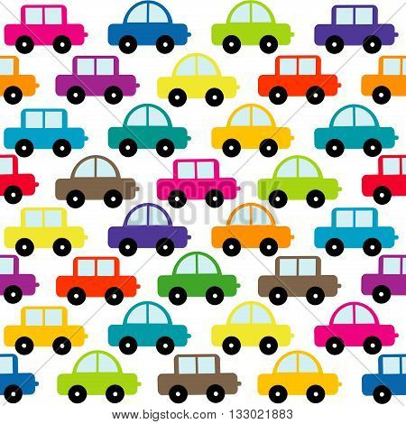 Cartoon toy cars seamless on whie background