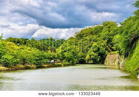 Moat at Himeji Castle in the Kansai region of Japan