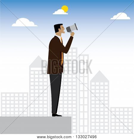 Businessman Or Executive Making An Announcement - Vector Graphic.