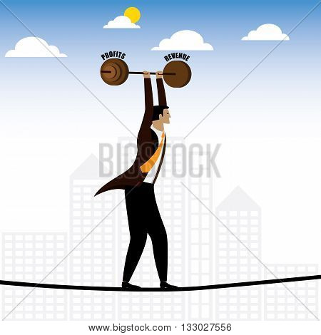 Businessman Or Executive Walking On Tightrope Balancing Revenue & Profits - Vector Graphic