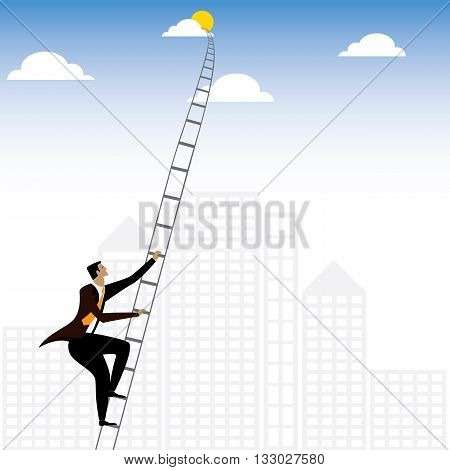 Businessman Or Executive Climbing Stairs To Sky - Vector Graphic
