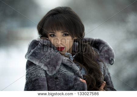 Beautiful, attractive, snorting, stunning, adorable, fashionable, glamour girl in exclusive, luxury, natural, mink, gray fur coat with makeup, curly hair, red lips in the winter, snow, cold forest, luxury fur coat.