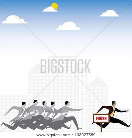 Businessman Or Executives Having A Race - Vector Graphic