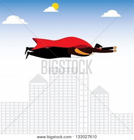 Businessman Or Executive As A Superhero Or Superman - Vector Graphic