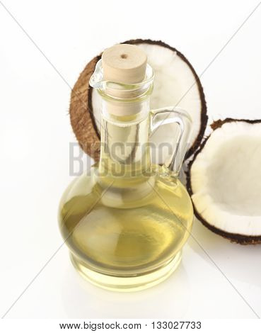 Coconut Oil with Coconuts on White Background