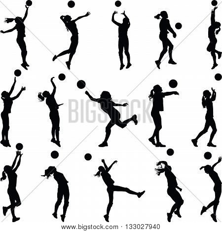 volleyball woman player in different sports poses
