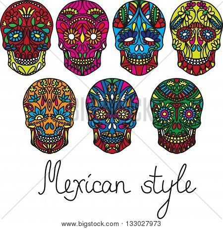 Day of the dead vector illustration set. Trendy style