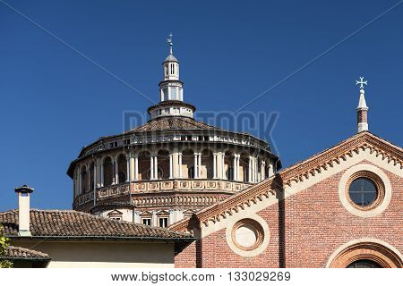 Exterior of the medieval church of Santa Maria delle Grazie in Milan (Lombardy Italy): facade and dome