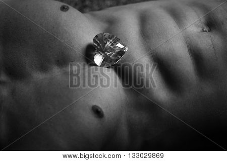 Muscular Torso With Heart Gemstone