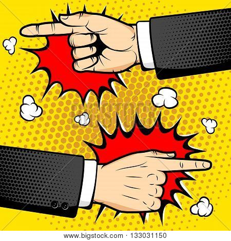 Human hands with pointing fingers in pop art style. Vector illustration. Pop art style illustration. Design element in vector.