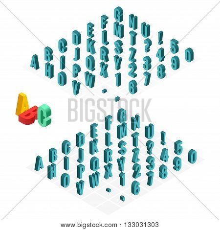 3d isometric alphabet vector font. Isometric letters, numbers and symbols. Three-Dimensional stock vector typography for headlines, posters etc