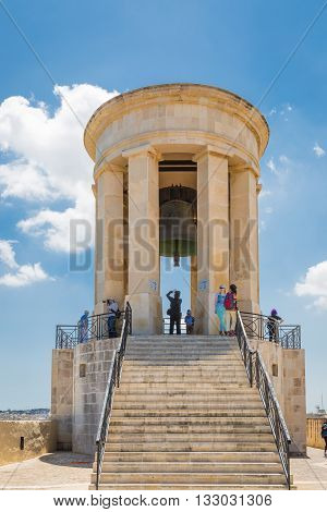 Valletta Malta - May 05 2016: Siege Bell War Memorial in Valletta