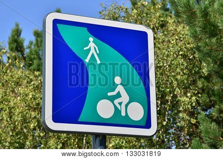 Les Mureaux France - october 26 2015 : bicycle lane sign