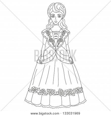 Illustration of noblewoman in ancient dress 19 of a century, cute lady in elegant attire or princess on walk, vector illustration, coloring book page for children