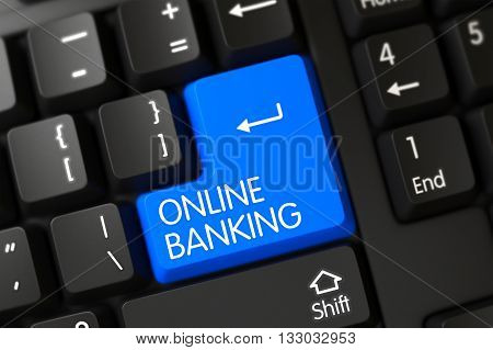 Black Keyboard with the words Online Banking on Blue Button. Button Online Banking on PC Keyboard. Blue Online Banking Keypad on Keyboard. Modern Keyboard Button Labeled Online Banking. 3D Render.