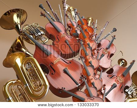 Orchestra musical instruments. High quality 3d render