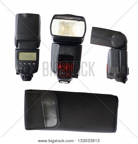 flash camera collection isolated on white color background