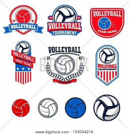 Set of volleyball labels and logos for volleyball teams tournaments championships isolated on white background. Set of volleyball balls. Vector illustration.