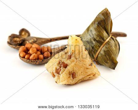 Zongzi - Sticky Rice Dumpling On White Background
