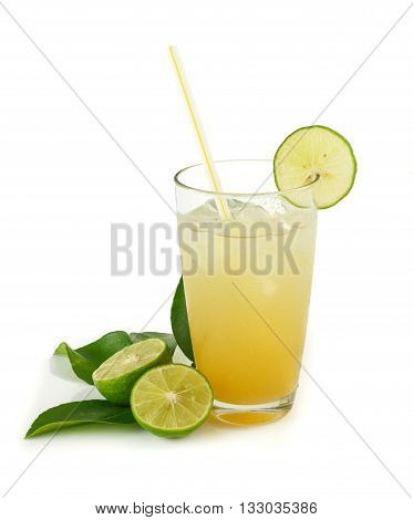 Glass Of Lime Juice With Ice Isolated On White