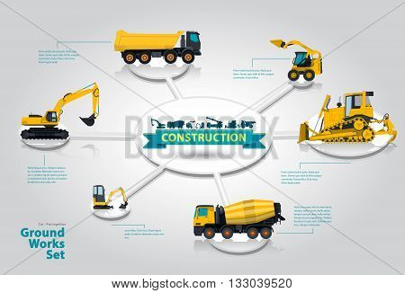Construction machinery infographic set. Isometric ground works machines vehicles, white background. Catalog page. Heavy building equipment, truck, digger bagger excavator, transportation master vector