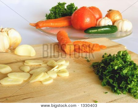 Chopped Ingredients For Tomato Sauce.