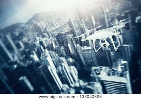 Photo White Matte Generic Design Remote Control Air Drone with action camera Flying Sky under City. Modern Megapolis Background. Horizontal, front side view. Motion Blur Effect. 3D rendering