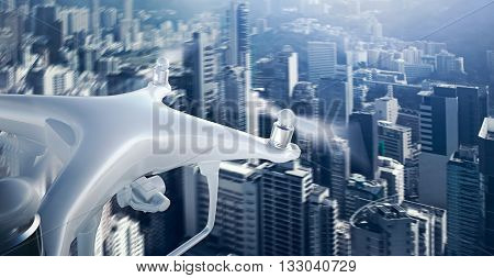 Closeup Photo White Matte Generic Design Remote Control Air Drone with action camera Flying Sky under City. Modern Megapolis Background. Wide, front side view. Motion Blur Effect. 3D rendering