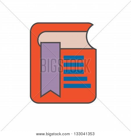 Bookmark vector icon. Colored line illustration of book with bookmark
