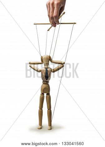 Image puppet in the hands of the puppeteer on white isolated background