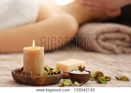 Spa set with aroma candle and soap