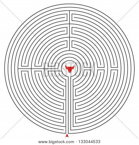 illustration minotaur maze vector line gray play