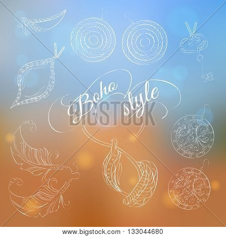 Boho jewelery set on abstract background. Vector set with ornaments. Hand made jewelery. Boho style. Ethnic jewelry. With feathers crystals and beads