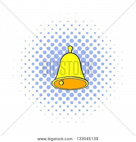 Golden hand bell icon in comics style on a white background
