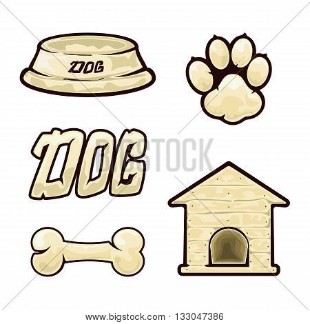 Dog icons isolated on white background, dog supplies, set of icons on a dog theme, illustration.