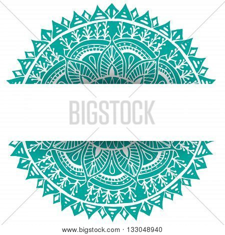 Flower mandala garland isolated over white background. Mandala flower frame for your card design with space for your text. Hand drawn flower mandala in vector.