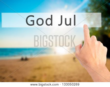 God Jul (merry Christmas In Swedish) - Hand Pressing A Button On Blurred Background Concept On Visua